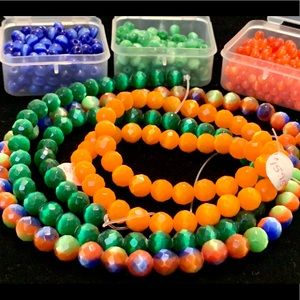 Cateye moonglow glass beads smooth faceted